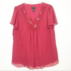 Lane Bryant butterly sleeve floral red career top